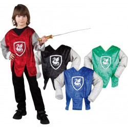 TUNIQUE ENFANT CHEVALIERS ET DRAGONS 4 COULEURS ASSORTIES 4/6 ANS