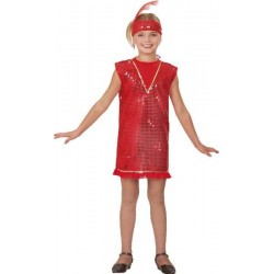COSTUME CHARLESTON ROUGE TAILLE 116 CM 4/5 ANS