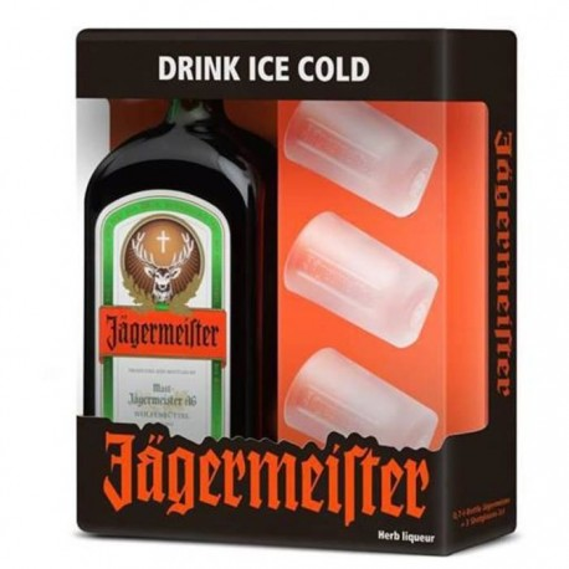 JAGERMEISTER COFFRET 70 cl 35° + 3 VERRES