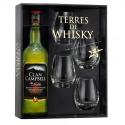 WHISKY CLAN CAMPBELL coffret whisky 0.7 L 40° + 4 verres